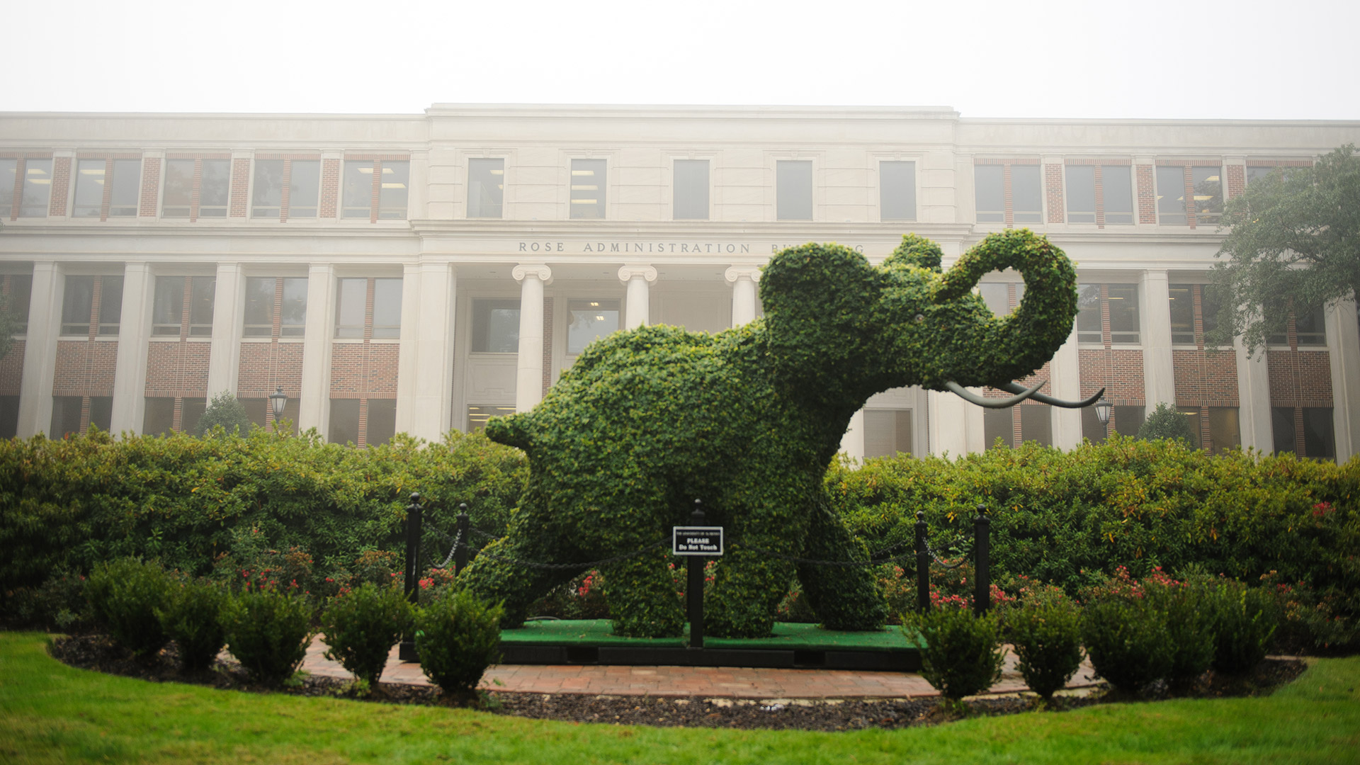 Plant covered elephant in front of Rose Administration Building