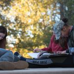 Students in a group studying