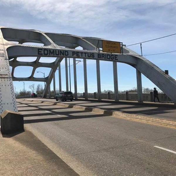 A bridge across a river.