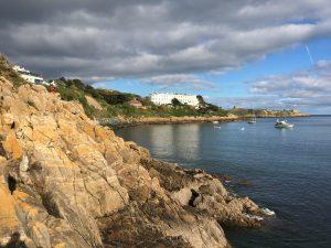 Rocky Dalkey Coastline and Dalkey Island in Dublin, Ireland